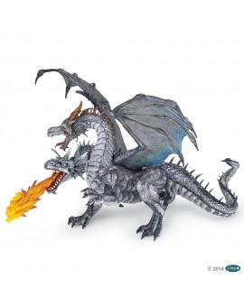 Papo Dragon à deux têtes argenté