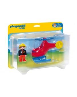 Playmobil 1-2-3 6789 Pompier avec hélicoptère