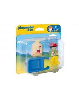 Playmobil 1-2-3 6961 Ouvrier avec Brouette