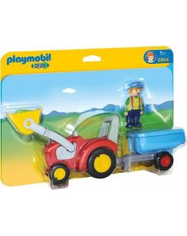 Playmobil 6964 1-2-3 Fermier avec tracteur et remorque
