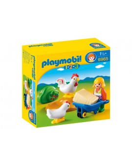 Playmobil 6965 1-2-3 Agricultrice avec brouette et coq