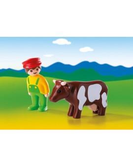 Playmobil 6972 1-2-3 Eleveur avec vache