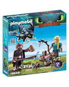 Playmobil 70040 Harold Et Astrid Avec Un Bebe Dragon N19