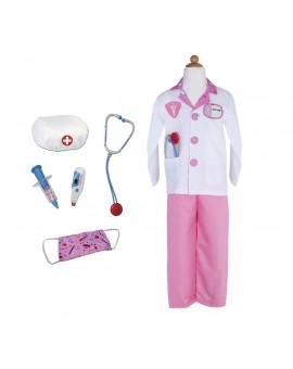 Costume docteur 5-6 ans + 8 accessoires (Rose)