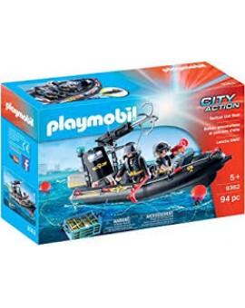 Playmobil 9362 Bateau Pneumatique Et Policiers D'elite