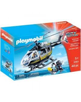 Playmobil 9363 Helicoptere Et Policiers D'elite