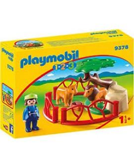 Playmobil 1 2 3 9378 Lions Et Enclos