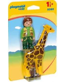 Playmobil 1 2 3 9380 Soigneur Avec Giraffe
