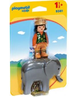 Playmobil 1 2 3 9381 Soigneur Avec Elephanteau