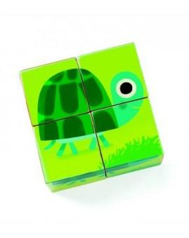 Djeco 4 cubes en bois Animaux familiers
