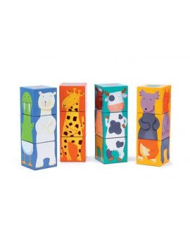 Djeco 12 Cubes animaux et couleurs