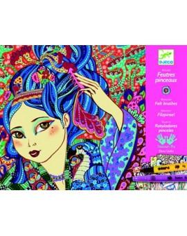 Djeco Atelier de feutres pinceaux Les jeunes filles aux cerisiers