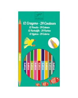 12 Crayons 24 Couleurs