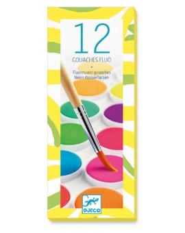 Dj 12 pastilles de gouache / Fluo