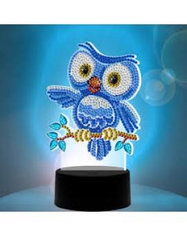 Jacarou Lampe Led Diamants Hibou Bleu N20